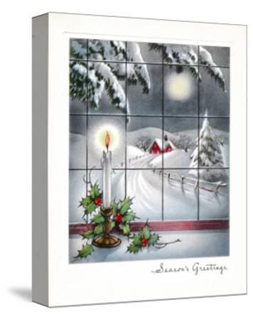 Greeting Card - Candles Season's Greetings - Winter Scene with Candle in the Window--Stretched Canvas Print