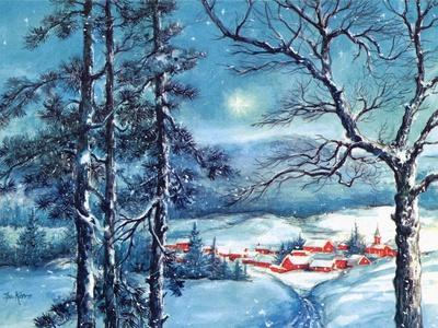 Greeting Card - Winter Scene with Red Village, National Museum of American History--Stretched Canvas Print