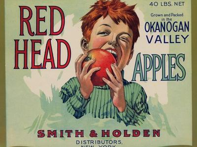 Fruit Crate Labels: Red Head Apples; Distributed by Smith and Holden, New York--Stretched Canvas Print