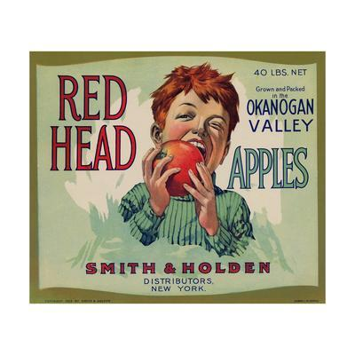 Fruit Crate Labels: Red Head Apples; Distributed by Smith and Holden, New York--Framed Premium Giclee Print
