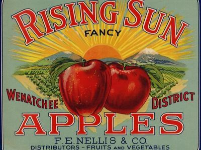 Fruit Crate Labels: Rising Sun Fancy Apples; F.E. Nellis and Company--Stretched Canvas Print