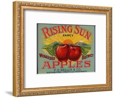 Fruit Crate Labels: Rising Sun Fancy Apples; F.E. Nellis and Company--Framed Premium Giclee Print