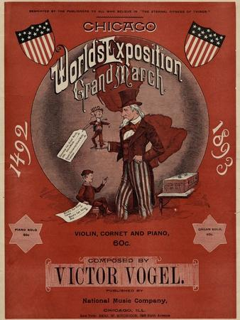 World's Fair: Chicago World's Exposition Grand March, 1492-1893, Composed by Victor Vogel--Framed Premium Giclee Print