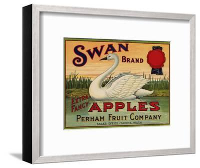 Fruit Crate Labels: Swan Brand Extra Fancy Apples; Perham Fruit Company--Framed Premium Giclee Print