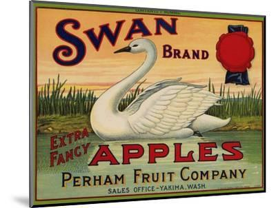 Fruit Crate Labels: Swan Brand Extra Fancy Apples; Perham Fruit Company--Mounted Premium Giclee Print