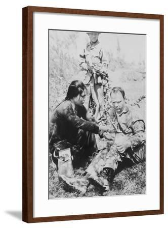 US Air Force Pilot Is Given First Aid by North Vietnam Captors in Jan. 1966--Framed Photo