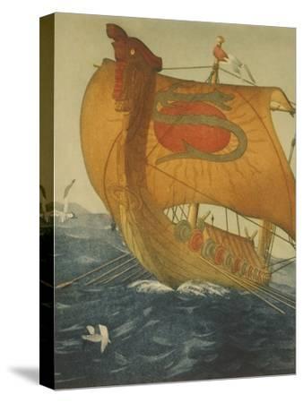 The Dragon Ship, Viking Ship at Sea, Etching by John Taylor Arms 1922--Stretched Canvas Print