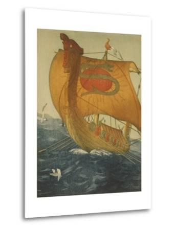 The Dragon Ship, Viking Ship at Sea, Etching by John Taylor Arms 1922--Metal Print