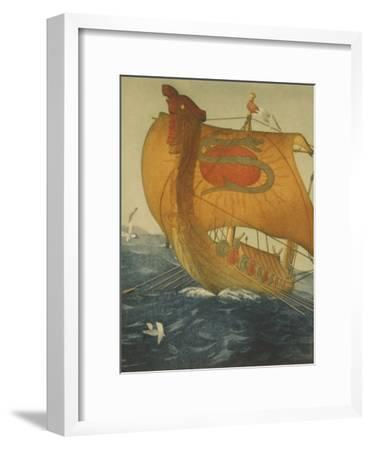The Dragon Ship, Viking Ship at Sea, Etching by John Taylor Arms 1922--Framed Art Print