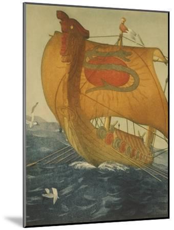 The Dragon Ship, Viking Ship at Sea, Etching by John Taylor Arms 1922--Mounted Art Print