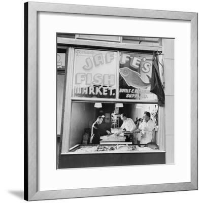 Fish Store in the Lower East Side, the Jewish Neighborhood of New York City. August 1942--Framed Photo
