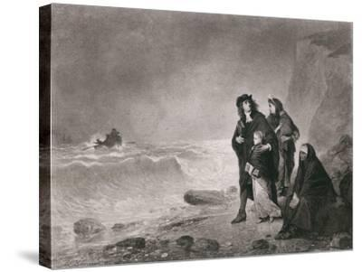 The Fugitives, Depicts Huguenots Refugees from France, Ca. 1785--Stretched Canvas Print