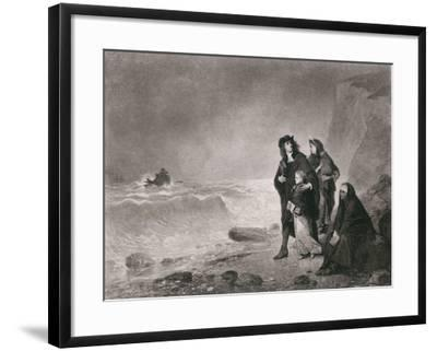 The Fugitives, Depicts Huguenots Refugees from France, Ca. 1785--Framed Art Print