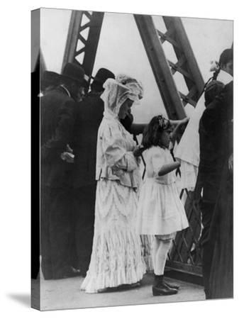 Jews Praying on the Williamsburg Bridge on Yom Kippur, Ca. 1909--Stretched Canvas Print