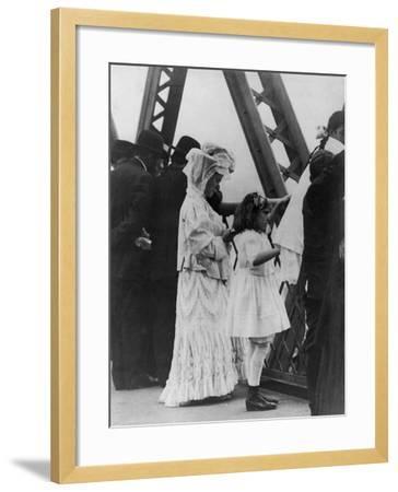 Jews Praying on the Williamsburg Bridge on Yom Kippur, Ca. 1909--Framed Photo