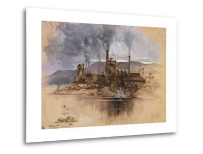 Bethlehem Steel Works in May 1881, Watercolor Painting by Joseph Pennell--Metal Print