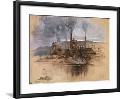 Bethlehem Steel Works in May 1881, Watercolor Painting by Joseph Pennell--Framed Art Print