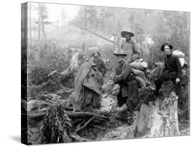Four Prospectors Posed on Trail in Alaska During the Yukon Gold Rush in 1897--Stretched Canvas Print
