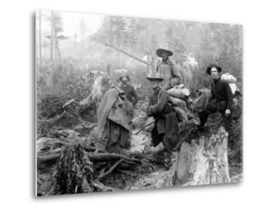 Four Prospectors Posed on Trail in Alaska During the Yukon Gold Rush in 1897--Metal Print