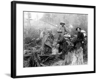 Four Prospectors Posed on Trail in Alaska During the Yukon Gold Rush in 1897--Framed Photo