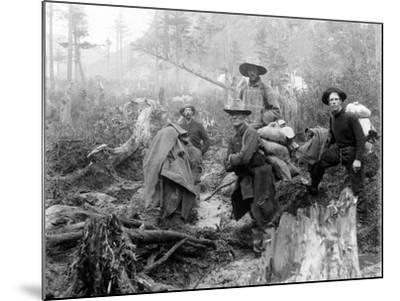 Four Prospectors Posed on Trail in Alaska During the Yukon Gold Rush in 1897--Mounted Photo