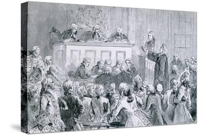 Peter Zenger, in the Dock (At Right), During His Trial for Seditious Libel, 1835--Stretched Canvas Print