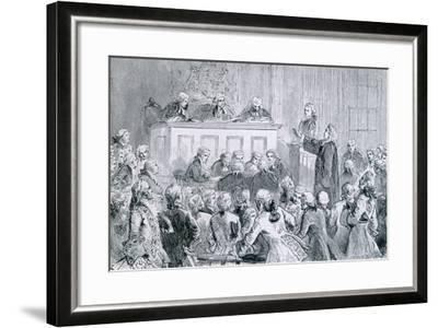 Peter Zenger, in the Dock (At Right), During His Trial for Seditious Libel, 1835--Framed Art Print