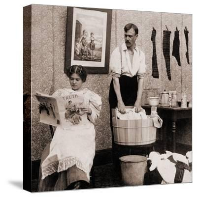 Satire of Feminism Showing an Extreme Role Reversal in a 1900's American Home--Stretched Canvas Print