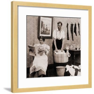 Satire of Feminism Showing an Extreme Role Reversal in a 1900's American Home--Framed Photo