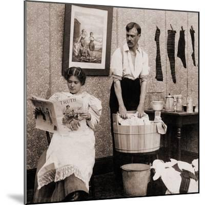 Satire of Feminism Showing an Extreme Role Reversal in a 1900's American Home--Mounted Photo