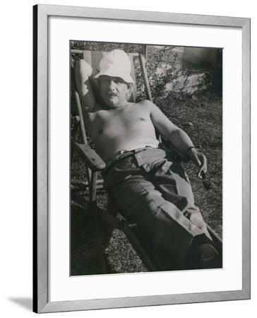 Albert Einstein Sunbathing in 1932--Framed Photo