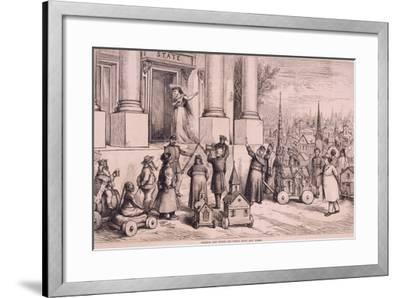 Thomas Nast Cartoon, Shows Priests Threatening the Doorway of the 'State'--Framed Art Print