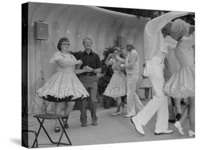 Jimmy Carter Square Dances During a Congressional Picnic on the South Lawn, 1970s--Stretched Canvas Print