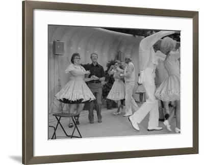 Jimmy Carter Square Dances During a Congressional Picnic on the South Lawn, 1970s--Framed Photo
