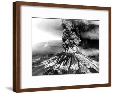 Mount St. Helens on the First Day of Eruption on May 18 1980--Framed Photo