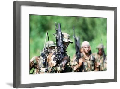 US Navy SEALs in Warfare Training, Aug. 1, 1987--Framed Photo