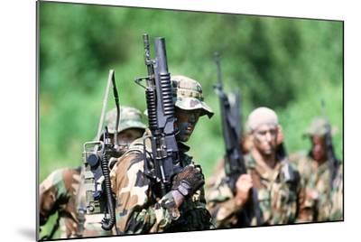 US Navy SEALs in Warfare Training, Aug. 1, 1987--Mounted Photo