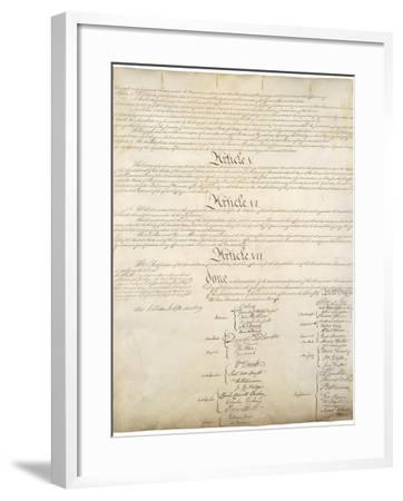 Signature Page of the Constitution of the United States of America, 1787--Framed Art Print