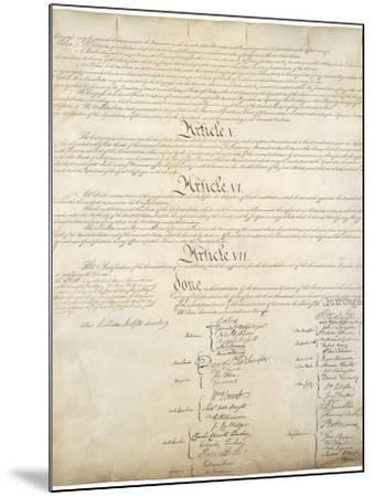 Signature Page of the Constitution of the United States of America, 1787--Mounted Art Print