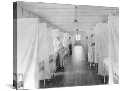 Beds Separated by Sheets to Isolate Patients During Spanish Flu Epidemic 1918-19--Stretched Canvas Print