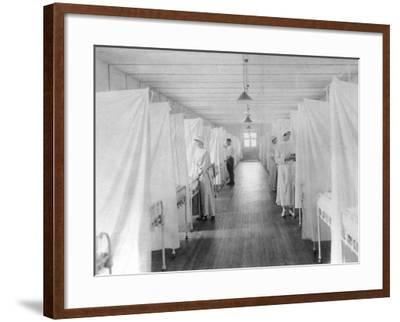Beds Separated by Sheets to Isolate Patients During Spanish Flu Epidemic 1918-19--Framed Photo