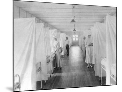Beds Separated by Sheets to Isolate Patients During Spanish Flu Epidemic 1918-19--Mounted Photo