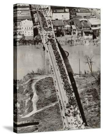Aerial View of Edmund Pettus Bridge During the Selma Alabama Voting Rights Campaign, 1965--Stretched Canvas Print