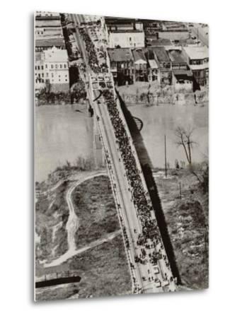 Aerial View of Edmund Pettus Bridge During the Selma Alabama Voting Rights Campaign, 1965--Metal Print