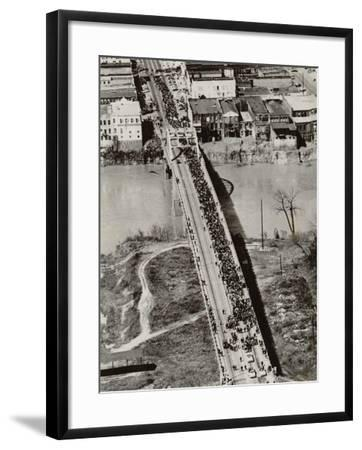 Aerial View of Edmund Pettus Bridge During the Selma Alabama Voting Rights Campaign, 1965--Framed Photo