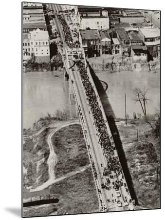 Aerial View of Edmund Pettus Bridge During the Selma Alabama Voting Rights Campaign, 1965--Mounted Photo