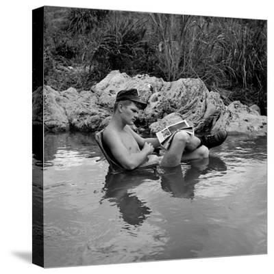 US Marine Rifleman Relaxes in a Cool Mountain Stream, Vietnam, 1968--Stretched Canvas Print