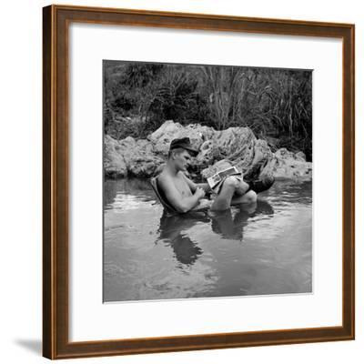 US Marine Rifleman Relaxes in a Cool Mountain Stream, Vietnam, 1968--Framed Photo