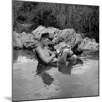 US Marine Rifleman Relaxes in a Cool Mountain Stream, Vietnam, 1968--Mounted Photo