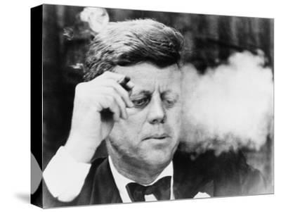 President John Kennedy, Smoking a Cigar at a Democratic Fundraiser, Oct. 19, 1963--Stretched Canvas Print